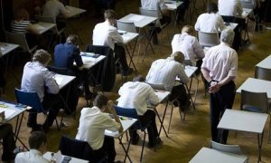 Schoolchildren-sit-an-exam-room