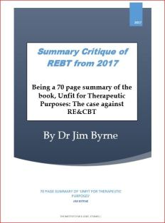 Summary critique of REBT 2017