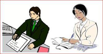 Man and woman writing