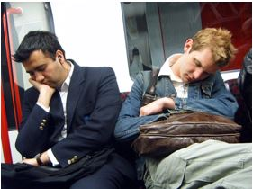 Men sleeping on underground