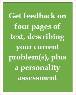 Email counselling, four pages, plus personality assessment