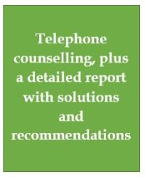 Telephone counselling plus detailed report