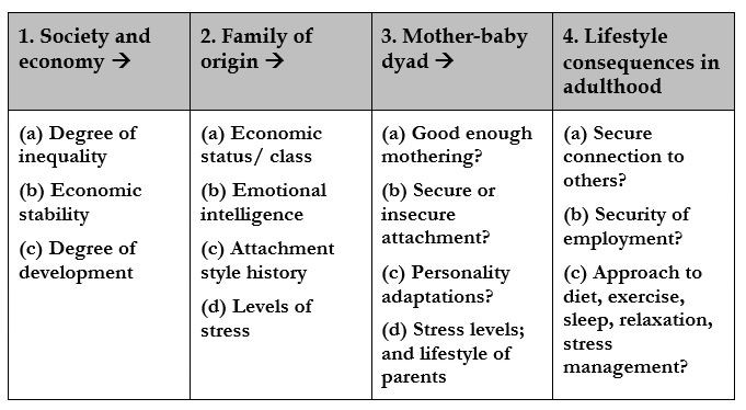 Society, family, dyadic relationship influences